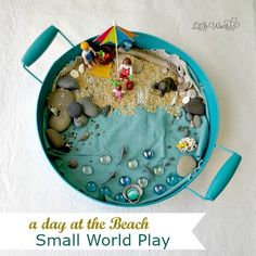 Creative Play for Kids: How to Set up a Beach Small World Invitation to Play for fun and imaginative play for preschool, kindergarten, and early-childhood. Perfect for bored, summer, and rainy days. Sensory Games, Sensory Play, Beach Themed Crafts, Beach Invitations, Small World Play, Fairy Crafts, Summer Activities For Kids, Creative Play, Play To Learn