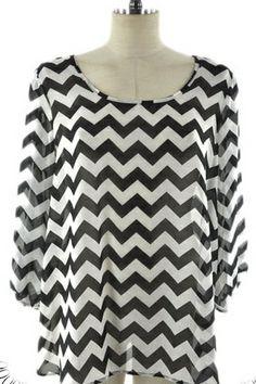 $31.95 Plus Size Top Chevron Black - Kelly Brett Boutique