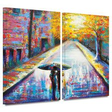 'Paris Back Street Magic' by Susi Franco 2 Piece Painting Print on Wrapped Canvas Set