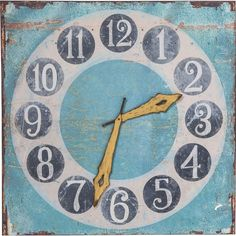 Characterised by its rustic reclaimed aesthetic and shabby chic style, this colourfully quirky wall clock print pairs muted colours and aged effects for a truly unique decoration. Kare Design, Shabby Chic Style, Muted Colors, Decorative Accessories, Material, Sweet Home, Wall Decor, Rustic, Vintage