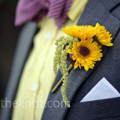 Sunflowers and amaranthus boutonniere