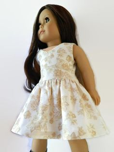 American Girl Doll Clothes  Tan and Cream Floral by 18Boutique