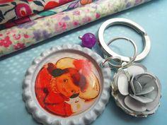 *Ella* Schlüsselanhänger mit Mädchen Rot und Rose von Happy Lilly auf DaWanda.com