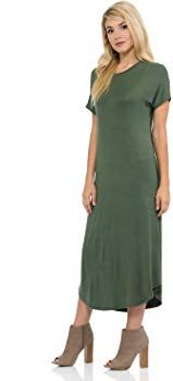 0657921a3dcf iconic luxe Women s A-Line Short Sleeve Midi Dress Large Olive at Amazon  Women s Clothing