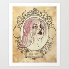 ACUALESCENT - Framed and Stained Art Print by Casstronaut - $20.80