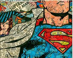 comic paper collage of Superman. The collage features an up close view of The Man of Steel in a classic mid-change pose. Original artist for . Superman Close-Up Comic Collage Logo Superman, Superman Comic, Joker Comic, Harley Quinn Comic, Bruce Timm, Comic Books Art, Comic Art, Comic Collage, Iron Man