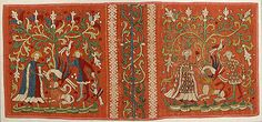 Embroideries with Allegorical Scenes, ca. 1450, Made in, Lower Saxony, Germany, Silk and linen on woven linen ground with applied red pigment and black under- and overdrawing, 11 9/16 x 25 in. (29.3 x 63.5 cm) At the Cloisters