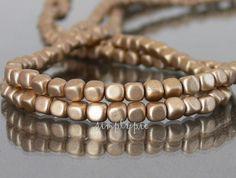 Cube Czech Beads Satin Flax Gold Czech Glass Beads  by simplypie   £1.50.  pp £4.50