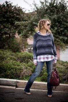 oversized sweater, flannel shirt, favorite worn in jeans.  luciakjewelry