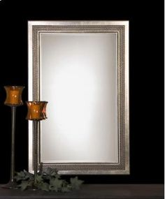 Uttermost 14411 B Triple Beaded Vanity Mirror in Silver Leaf, Transitional White Mirror, Oval Mirror, Outdoor Wall Sconce, Wall Sconce Lighting, Wall Mounted Mirror, Wall Sconces, Nautical Mirror, Uttermost Mirrors, Baroque Mirror