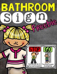 Red/Green Stop and Go Classroom Bathroom Door Hanger Sign ...