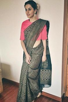 Taapsee Pannu giving us strong ethnic goals in an elegant black saree clubbed with a embroidered pink blouse. Shop this look on Huew. Formal Saree, Casual Saree, Trendy Sarees, Stylish Sarees, Indian Dresses, Indian Outfits, Cotton Saree Blouse Designs, Saree Look, Traditional Sarees