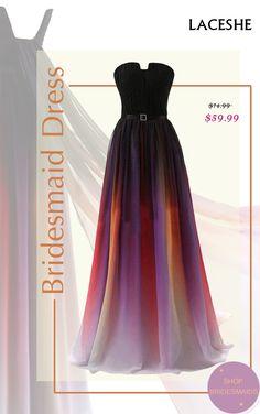 b8f59340c3a LaceShe Women s Strapless Chiffon Bridesmaid Gown Dress
