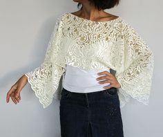 Cream Wedding Wrap Bridal Shrug Cotton Lace Shawl Bolero