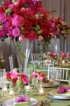 Tall Centerpieces in Pinks & Reds - vibrant luxury wedding centrepiece