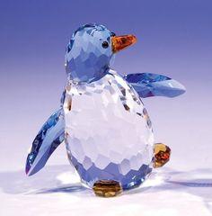 Swarovski Crystal Tipping/Walking Figurine, Penguin, Blue and Clear. Penguin Art, Penguin Love, Cute Penguins, Swarovski Crystal Figurines, Swarovski Crystals, Faceted Crystal, Glass Figurines, Collectible Figurines, Dibujos Cute