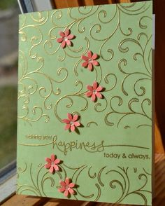SU Baroque Motifs for the flourishes, if using the flowers - match to embossing powder.  Gold embossing powder
