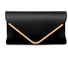 Zmart Women's Envelope Clutches Evening Shouder Bag ($20) ❤ liked on Polyvore featuring bags, handbags, clutches, black evening handbags, black envelope clutch bag, black purse, special occasion purses ve black evening clutches