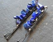 hair pins with lapis lazuli by   LoveandCherish on Etsy