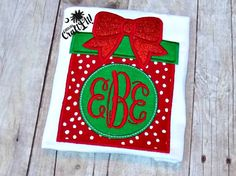 Christmas Day Shirt, Monogrammed Present, Red, Green, Polka Dots Girls, Toddlers, Infants, Personalized, Embroidered, Appliqued