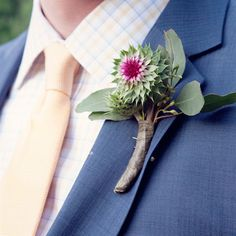 Thistle Boutonniere