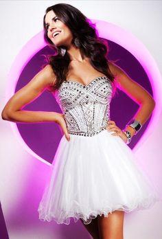 White Strapless Sequin Short Prom Dresses #prom #dress www.loveitsomuch.com