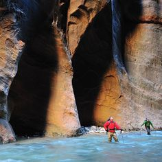National Parks [2 of 18] Photo by @ladzinski // Two Hikers move through the Virgin River in the iconic 16 mile stretch of the Zion Narrows in Zion National Park Utah. Sponsored by @Subaru_USA: Each year visitors to America's national parks generate over 100 million pounds of trash that end up in landfills. @Subaru_USA the first U.S. automaker to become zero landfill is partnering with the @nationalparkservice and the @npcapics to help America's national parks work towards zero landfill. Help…