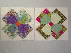 My first 2 blocks by Yvonne by newbietoapplique, via Flickr