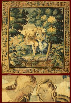 French Antique Tapestry , Mirtillo and Amarilli.  Wool and Silk.  Tapestry equipped of expertise in good state of conservation.