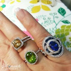Bling to brighten your week | Pictured (L) Honey Zircon and diamond halo item RG914407, (C) Peridot and diamond halo item RG714408, and (R) Sapphire and diamonds item RG914410 | Monarch Jewelry located in Winter Park, Florida (phone 407.677.8354 )