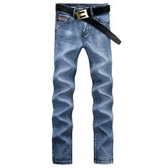 Casual Middle-rise Straight Legs Zip Fly Denim Pants For Men #jewelry, #women, #men, #hats, #watches, #belts, #fashion