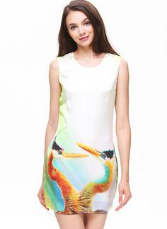White Sleeveless Ostrich Print Short Dress 33.98