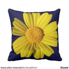 Sunny yellow chamomile throw pillow