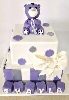 Two tier christening cake based on design by Elite Cake Design
