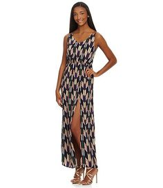 Jodi Kristopher Striped Chevron Maxi Dress Dillards Playa