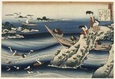 Hokusai, Sangi takamura, pêcheuses d'ormeaux, XIXe s., Paris, musée Guimet