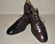 BALLY MENS SHOES Switzerland 35 Size 11 Med Brown tie front LEATHER #Bally #Oxfords