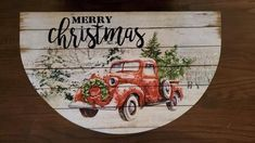 Red Vintage Truck Merry Christmas Welcome Mat - A Rustic Feeling Merry Christmas Text, Christmas Jars, Christmas Humor, Reclaimed Wood Signs, Barn Wood Signs, Rustic Nursery Decor, Country Wreaths, Grandmother Gifts, Stone Coasters