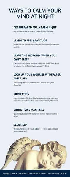 Some effective ways for calming your mind and getting a good night's sleep. #sleep #calm Institute Of Mental Health, Mental Health Matters, Mental Health Awareness, Anxiety Causes, Anxiety Tips, Mindfulness Practice, Guided Meditation, Caring For Mums, When You Cant Sleep