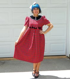 1990s Vintage Red and Black Plaid Lolita by Enchantedfuture