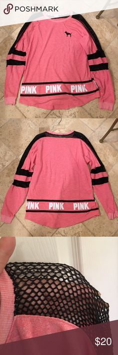 Victoria's Secret PINK T-Shirt Never worn VS Pink long sleeve tee in new condition. Has fishnet material going down and on sleeves. Only thing I thought was weird was an extra bright pink spot on the shirt (pictured) and I'm not sure if it is supposed to be like that or not but that's how it was when I purchased it (It's not very noticeable). Size Medium. PINK Victoria's Secret Tops Tees - Long Sleeve