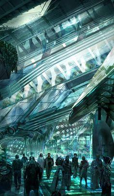 'Speed of mankind' by Ioan Dumitrescu   podzemné mesto alebo skleníkový systém na vesmírnej stanici