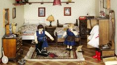 This dolls' house was designed in the style of the 1940s in England by Roma Hopkinson.