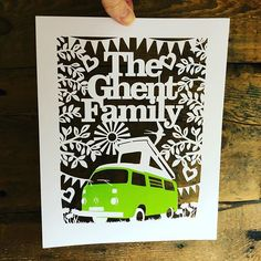 Any camper van lovers out there? Heres a nice commission I had over Christmas I can share now - man I LOVE a bright green camper! One day. Vw Camper, Family Gifts, Bright Green, Paper Cutting, Lovers, My Love, Nice, Day, Christmas