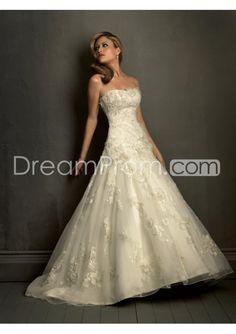 Classic Strapless A-line Sleeveless Floor-length Chapel Flowers Wedding Dresses WD-11042