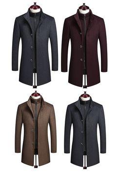 Plain Zipper Single-Breasted Mens Wool Coat With Vest. coats coats mens coats and jacket Mens Winter Coat, Winter Coats, Suit Fashion, Mens Fashion, Mens Wool Coats, Types Of Coats, Vest Coat, Men Style Tips, Style Men