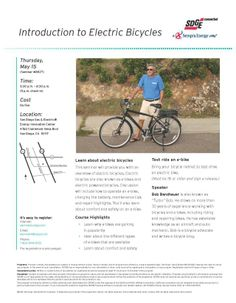 """Turbo Bob's """"Introduction to Electric Bicycles"""". Thursday May in San Diego. Electric Bicycle, Electric Cars, Bike News, Bicycles, Thursday, San Diego, Vehicles, Shop, Electric Vehicle"""