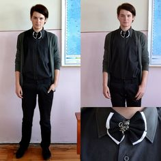 Handmade Double Tie, Zara Green Cardigan, Black Shirt, Black Pants, Black Leather Dress Shoes