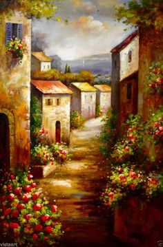 "This is possible to paint!  Quality Oil Painting on Stretched Canvas 24""x 36""- Tuscan Village"