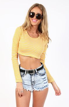 Basal Crop Yellow Stripe Hello Spring, Yellow Stripes, Spring Fashion, Denim Shorts, Hair Color, Crop Tops, Boutique, Clothes, Spring Style
